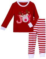 Pettigirl Girls 2 Piece Clothing Set Joy Reindeer Striped Pajamas 2 Years