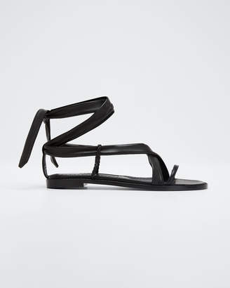 Manolo Blahnik Torflat Leather Tie Sandals