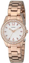 GUESS Women's U0445L3 Sporty Rose Gold-Tone Watch with White Dial , Crystal-Accented Bezel and Stainless Steel Pilot Buckle