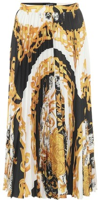 Versace Baroque-print pleated midi skirt