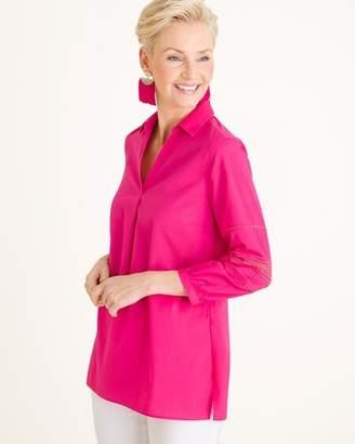 No Iron Cotton-Blend Ladder-Sleeve Pullover