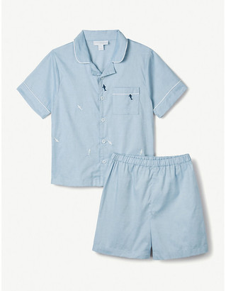 The Little White Company Shark-embroidered cotton pyjamas 7-12 years
