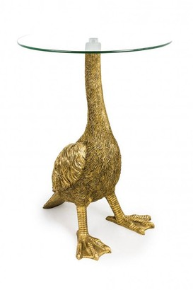 Sue Parkinson Home Collection - Antiqued Gold Goose Side Table