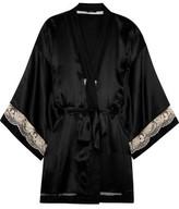 Calvin Klein Underwear Lace-Trimmed Silk Robe