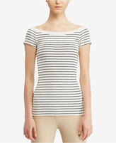 Lauren Ralph Lauren Striped Off-The-Shoulder T-Shirt