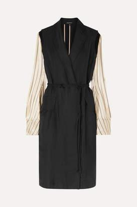 Ann Demeulemeester Satin-paneled Linen-blend Twill Coat - Black
