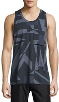 Helmut Lang Misdirection-Print Sleeveless Tank, Indigo Multi