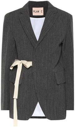 Plan C Wool and cotton-blend blazer