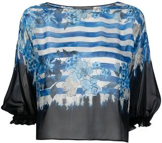 Alberta Ferretti Stripe-Print Floral Silk Blouse