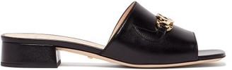 Gucci Zumi Logo-plaque Leather Mules - Black