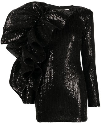 Loulou Sequined Ruffled-Detail Dress