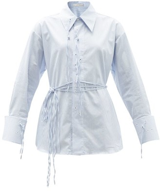 Palmer Harding I Love You Braille-eyelet Striped Cotton Shirt - Blue White