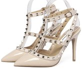YINHAN Women's Sexy Rivets Stilettos Studded T-Strap Pumps Pointed Toe Pumps For Party Dress Shoes