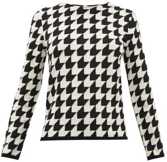 Comme des Garcons Houndstooth Raw Round-neck Wool Sweater - Womens - Black White