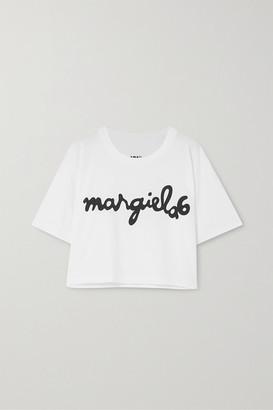 MM6 MAISON MARGIELA Oversized Cropped Printed Cotton-jersey T-shirt - White