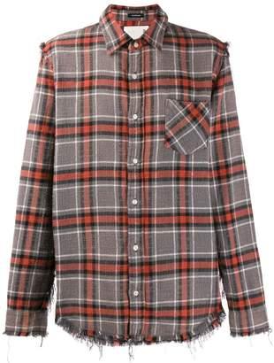 R 13 plaid shredded shirt