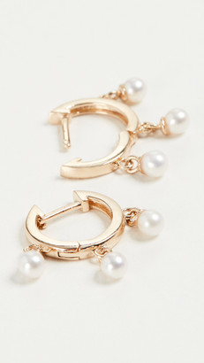 Mateo 14k Gold Trio Pearl Huggie Earrings