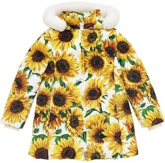 Dolce & Gabbana Sunflower Print Nylon Down Coat W/ Fur