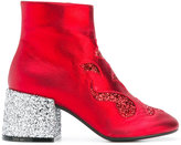 MM6 MAISON MARGIELA glittery chunky heel boots - women - Leather/Plastic/rubber - 37