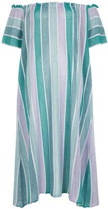 SUNDRESS Bella Striped Metallic-weave Midi Dress