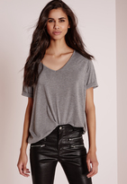 Missguided Tall Boyfriend V Neck T Shirt Grey Marl