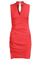 Quiz Red Ruched Choker Detail Bodycon Dress