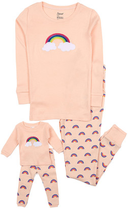 Leveret Girls' Sleep Bottoms Peach - Peach Rainbows Pajama Set & Doll Outfit - Toddler & Girls