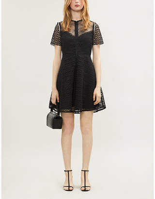 Sandro Faux pearl-trim lace dress