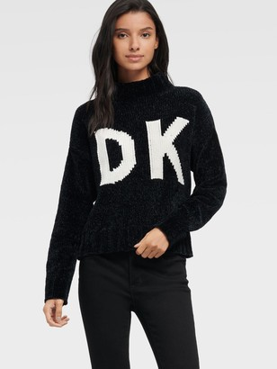DKNY Women's Chunky Chenille Logo Sweater - Black/Ivory - Size XX-Small