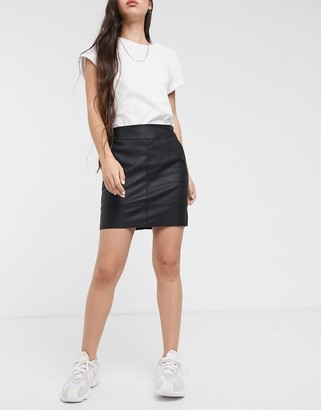 Only faux leather pu mini skirt in black