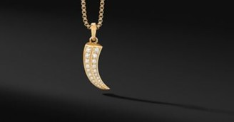 David Yurman Roman Xl Claw Amulet In 18K Yellow Gold With Pave