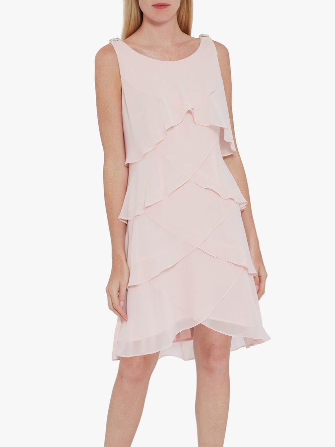 Gina Bacconi Vesta Chiffon Tiered Dress, Rose