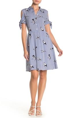 Papillon Striped Bird Print Cold Shoulder Shirt Dress