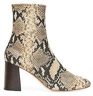 Loeffler Randall Women's Elyse Snakeskin-Embossed Leather Ankle Boots