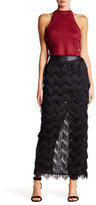 Rebecca Minkoff Swan Genuine Leather Banded Maxi Skirt