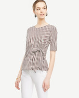 Ann Taylor Dot Bow Front Top