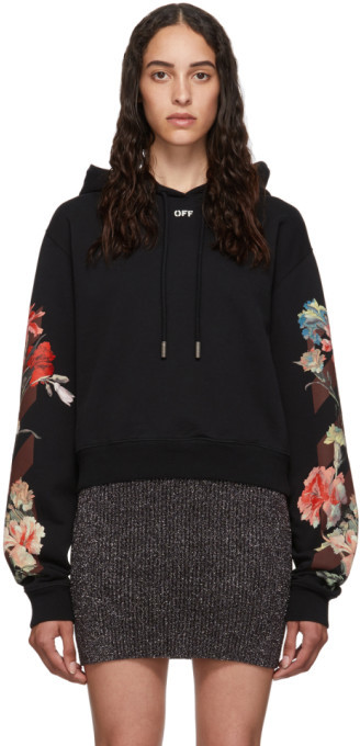Off-White Off White Black Cropped Flowers Hoodie