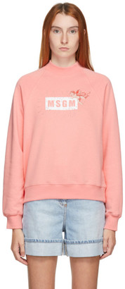 MSGM Pink Cupid Logo Sweatshirt