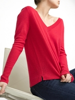 White + Warren Cashmere Placed Rib V Neck