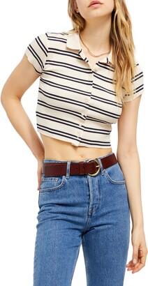 BDG Stripe Button-Up Crop Top