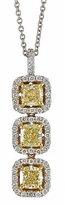 Neiman Marcus Diamonds Three-Stone Yellow Diamond Pendant Necklace, 1.6tcw