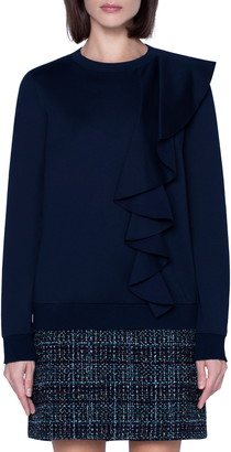 Akris Punto Asymmetrical Ruffle Long Sleeve Top