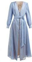 BLAZÉ MILANO Medusa Striped Cotton-blend Gauze Dress - Womens - Blue Stripe