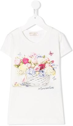 MonnaLisa flower basket print T-shirt