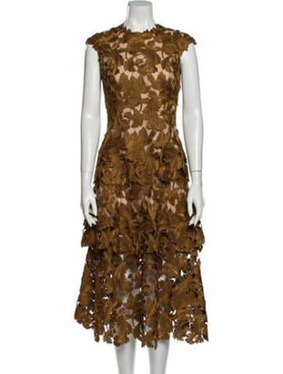 Oscar de la Renta 2020 Midi Length Dress w/ Tags Brown