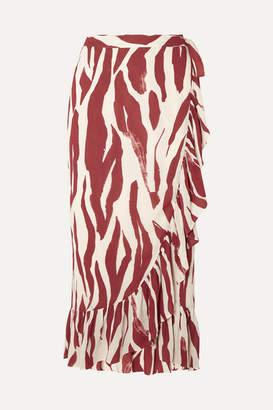 Anine Bing Lucky Ruffled Zebra-print Crepe Wrap Skirt - Zebra print