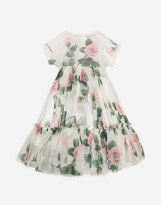Dolce & Gabbana Long Organza Dress With Tropical Rose Print