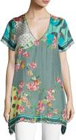 Johnny Was Freemont Scalloped Silk Habutai Tunic, Plus Size