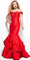 Mac Duggal Off the Shoulder Piped Mermaid Dress