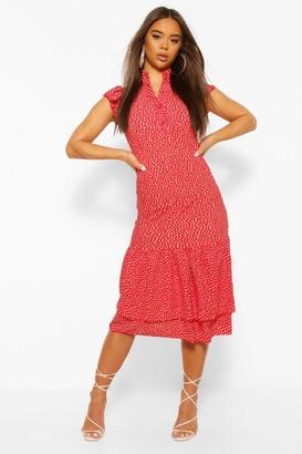 boohoo High Neck Polka Dot Midaxi Dress